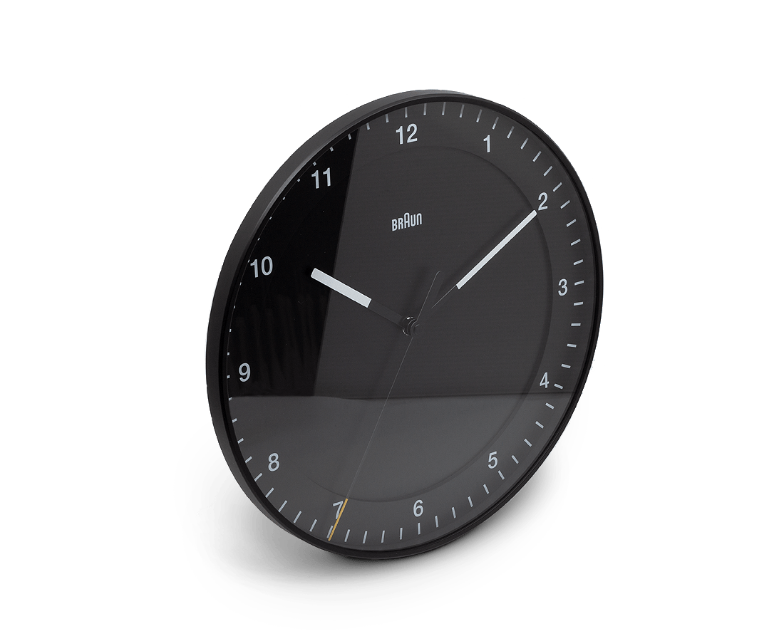 Braun 30cm Silent Sweep Wall Clock in Black BC17B. Compendium Design Store, Fremantle. AfterPay, ZipPay accepted.