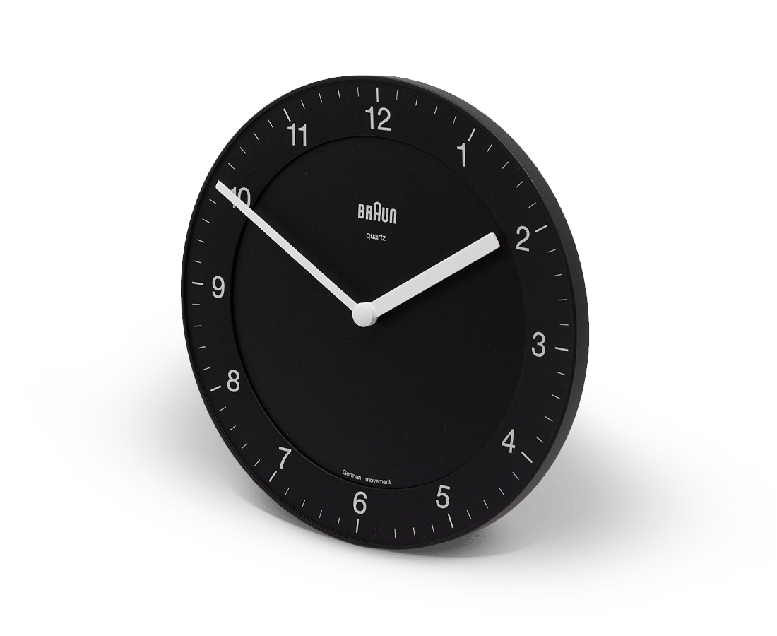 Braun Wall Clock in Black. Braun. Compendium Design Store. AfterPay, ZipPay accepted.