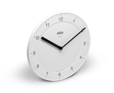 Braun Wall Clock in White. Braun. Compendium Design Store. AfterPay, ZipPay accepted.