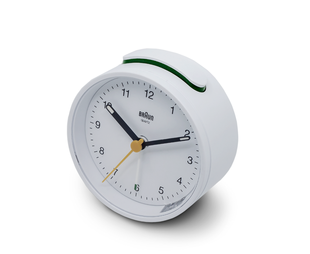 Braun Classic Analogue Quiet Alarm Clock in White. Compendium Design Store, Fremantle. AfterPay, ZipPay accepted.