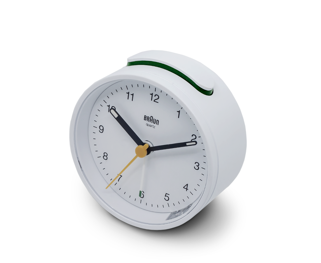 Braun Classic Analogue Quiet Alarm Clock in White BC12W. Compendium Design Store, Fremantle. AfterPay, ZipPay accepted.