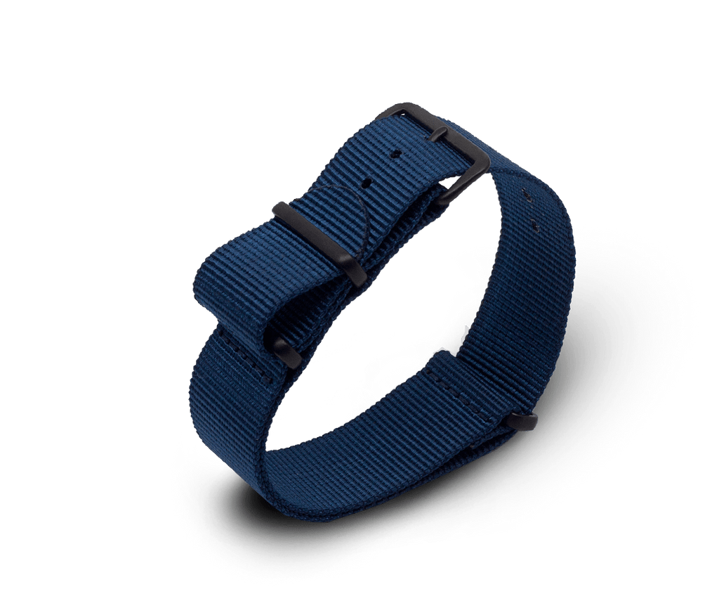 Nato Watch Strap in Navy Blue with Black PVD Hardware. Compendium Design Store, Fremantle. AfterPay, ZipPay accepted.