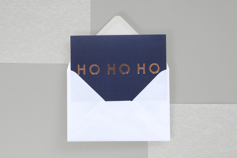 Foil Blocked Christmas Card, HO HO HO Navy/Rose Gold. Compendium Design Store, Fremantle. AfterPay, ZipPay accepted.