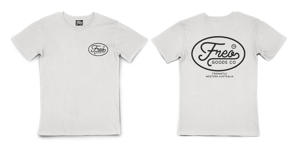 Freo Goods Co Organic Cotton T-Shirt #1 in Natural. Compendium Design Store, Fremantle. AfterPay, ZipPay accepted.