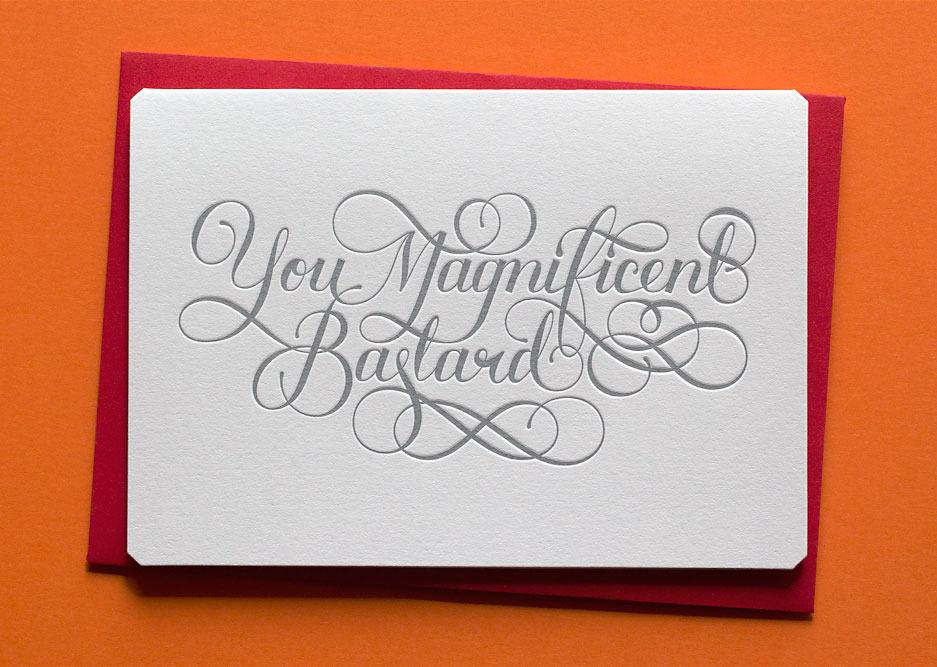 You Magnificent Bastard greeting card. The Hungry Workshop. Compendium Design Store. AfterPay, ZipPay accepted.