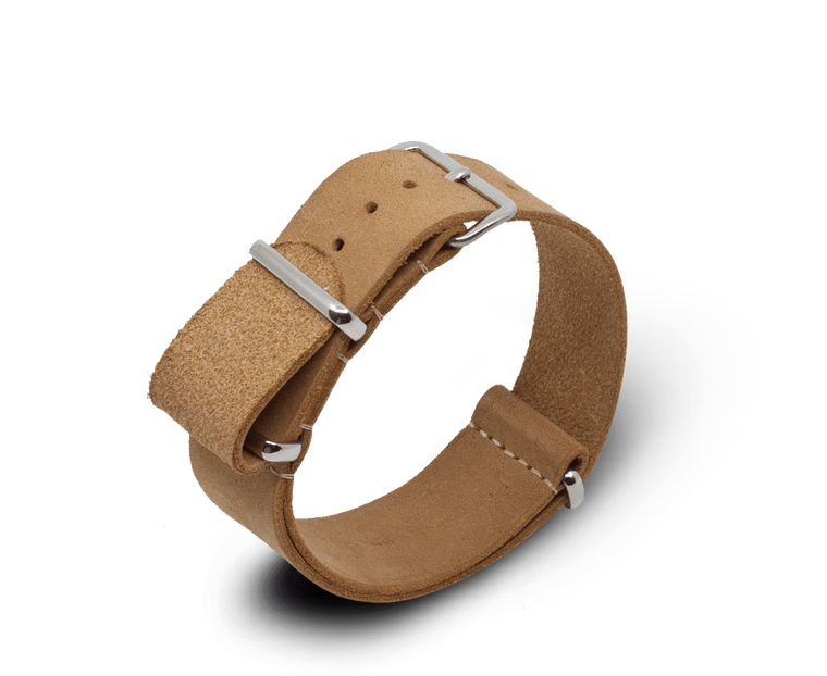 Leather Nato Watch Strap in Light Brown (Tan) with Silver Hardware