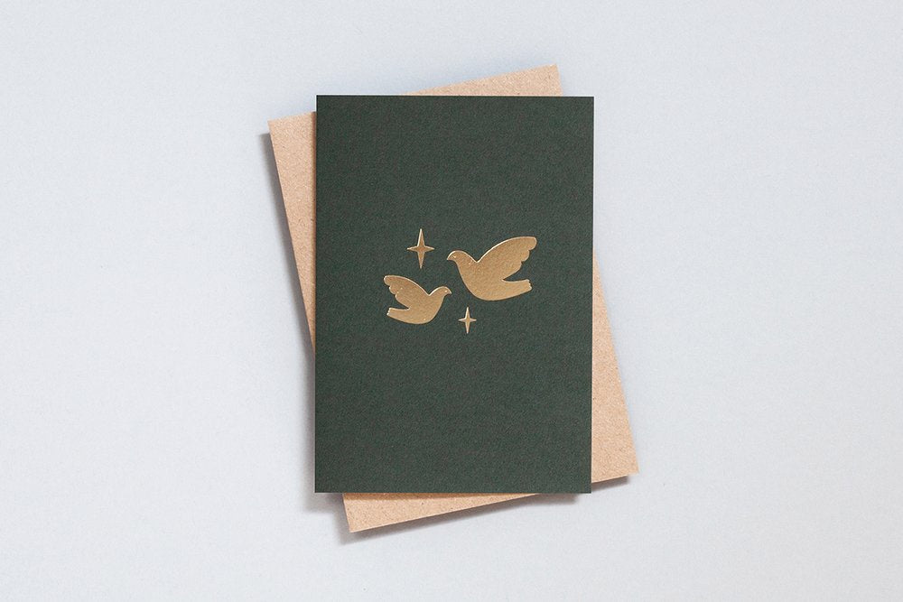 Foil Blocked Christmas Card, Two Doves Green/Brass. Compendium Design Store, Fremantle. AfterPay, ZipPay accepted.
