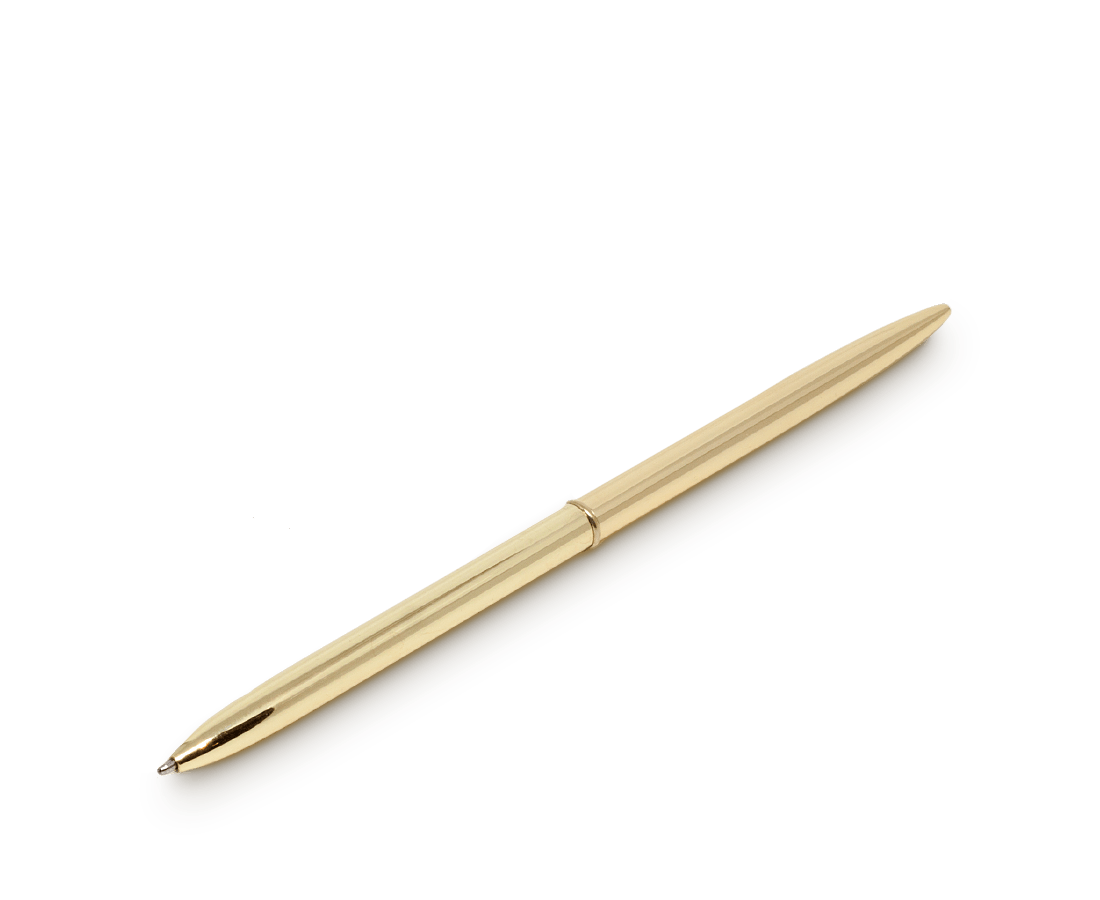 COMPENDIUM DESIGN STORE™ Stationery Minimalist twist pen in Brass with Blue ink