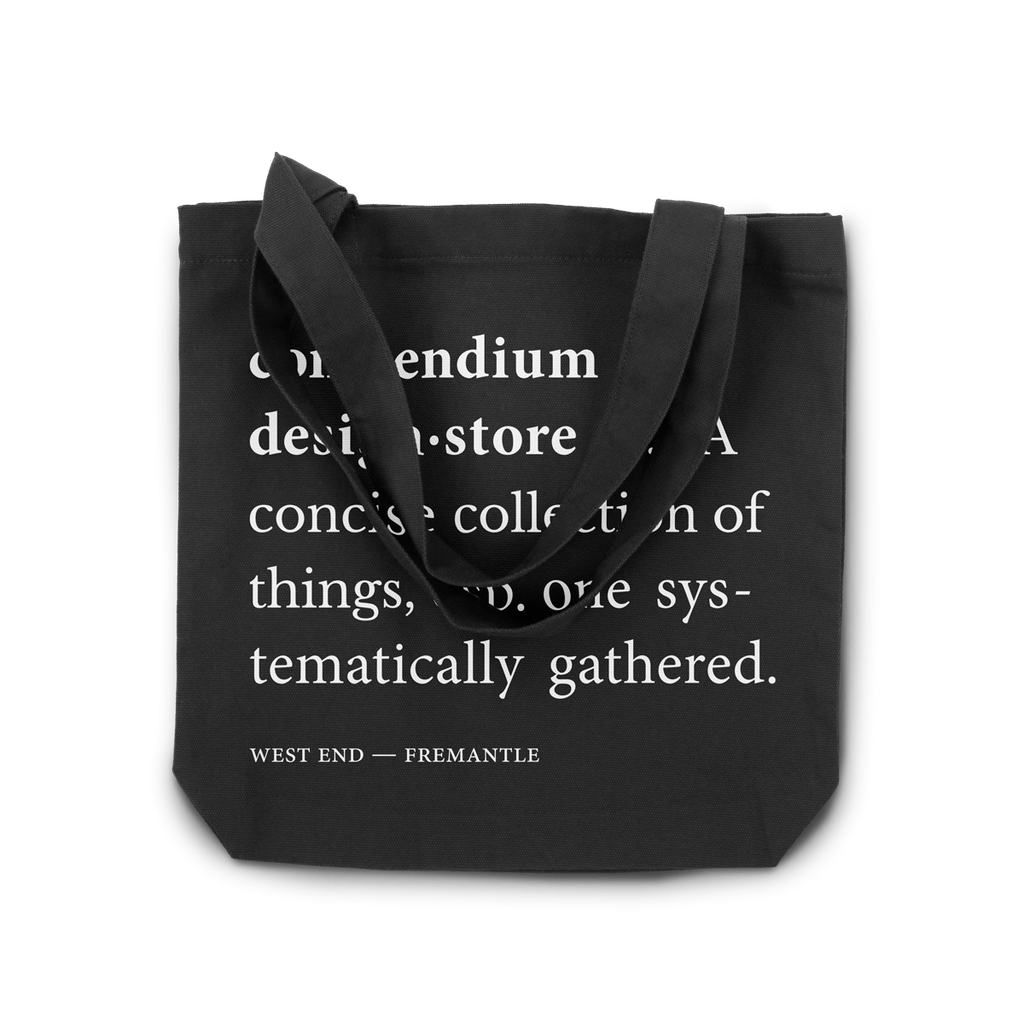 Compendium Design Store Definition Tote Bag in Black. Compendium Design Store, Fremantle. AfterPay, ZipPay accepted.