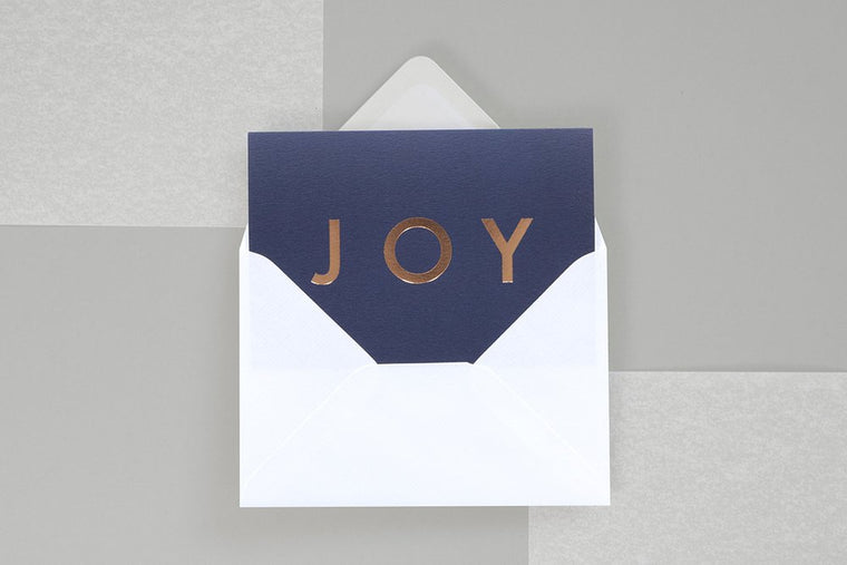 Foil Blocked Christmas Card, JOY Navy/Rose Gold