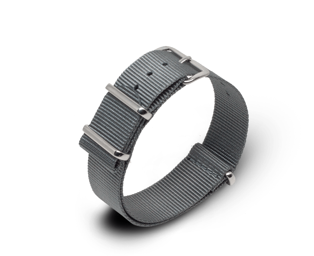 Nato Watch strap in Grey with Silver Hardware