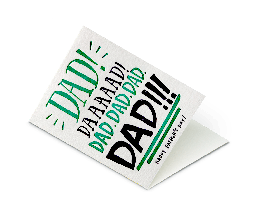 Dad Yelling Father's Day Card. Compendium Design Store, Fremantle. AfterPay, ZipPay accepted.