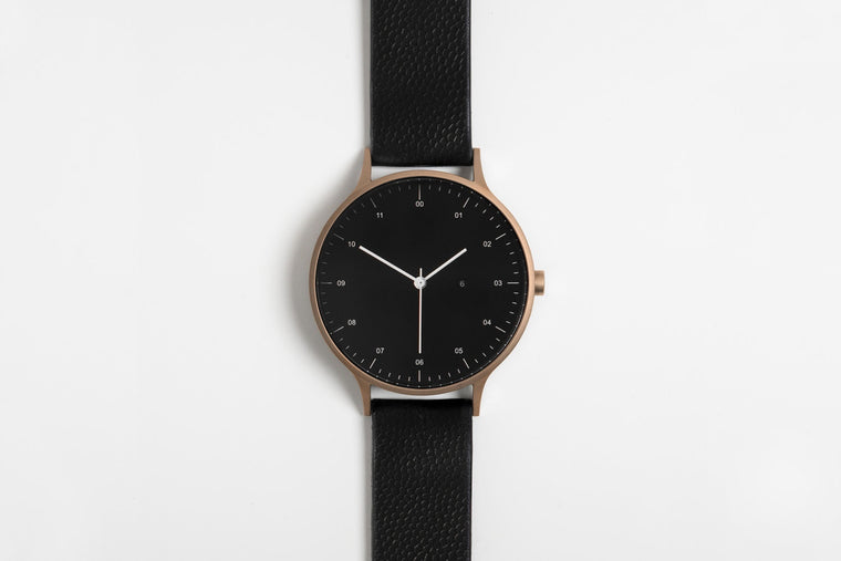 Instrmnt T-42 Watch in Brushed Rose Gold and Black Textured Leather Strap