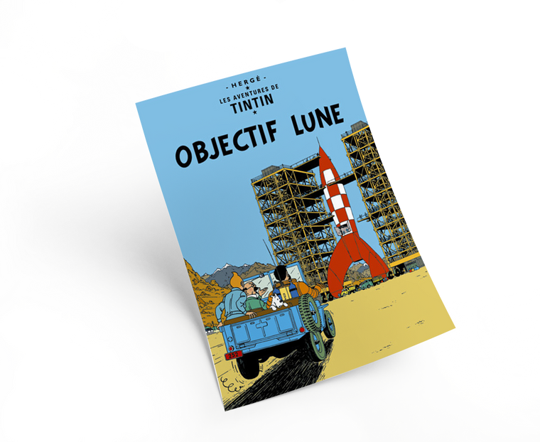 The Adventures of Tintin: Objectif Lune Poster in French. 50x70cm