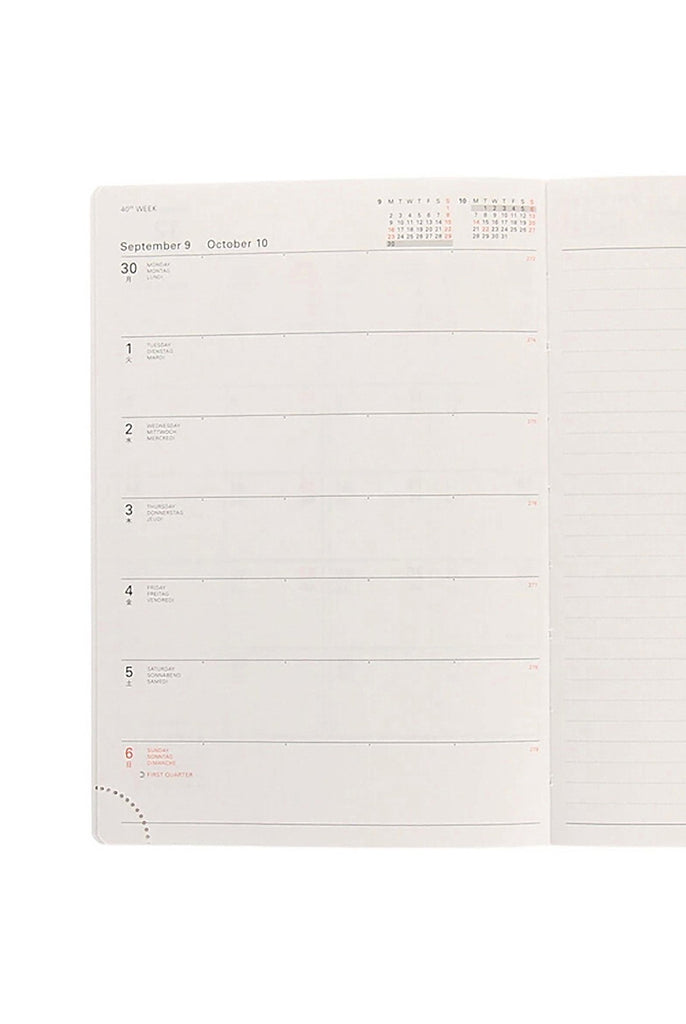 Delfonics 2020 Diary A5 Linen Chambray Grey - Weekly + Notes