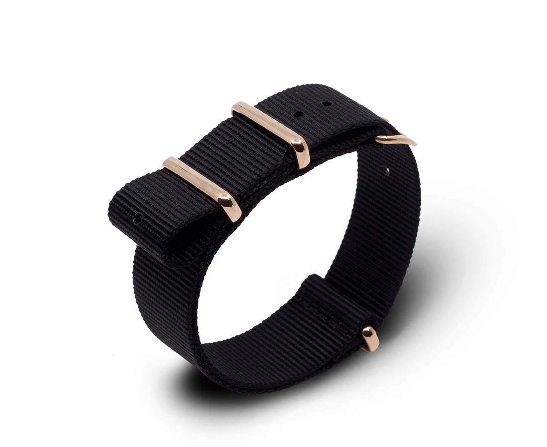 Nato Watch Strap in Black with Rose Gold Hardware. Compendium Design Store, Fremantle. AfterPay, ZipPay accepted.