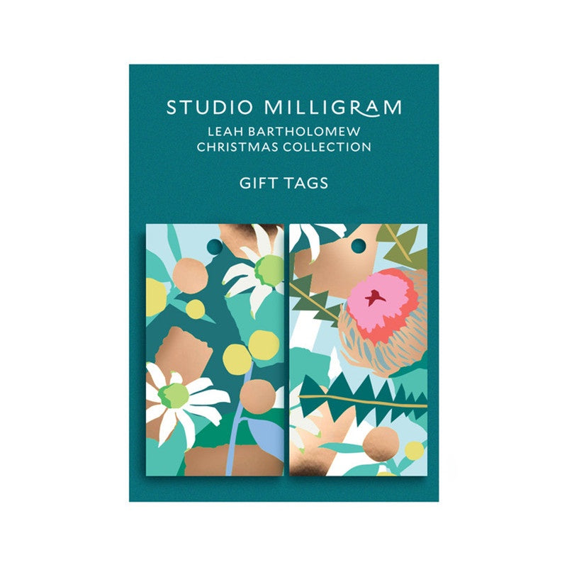 Christmas Gift Tags by Leah Bartholomew for Studio Milligram - Set of 6 (Green). Compendium Design Store, Fremantle. AfterPay, ZipPay accepted.