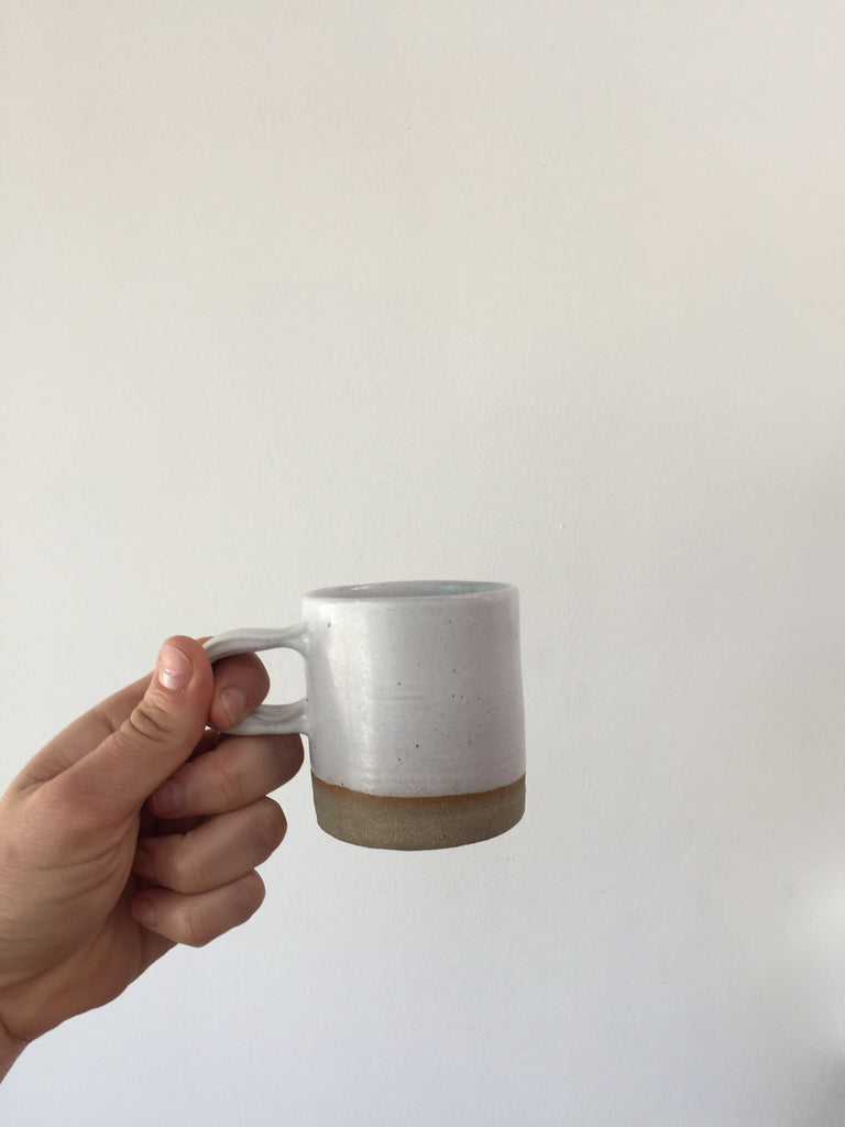 Sole Ceramics Coffee Cup in (Grey Clay) White Glaze with White Handle. Compendium Design Store, Fremantle. AfterPay, ZipPay accepted.
