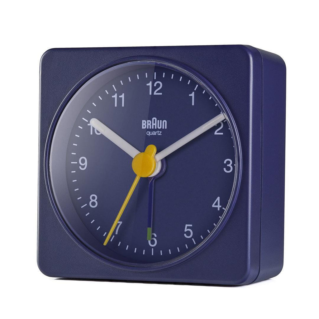 Braun Travel Alarm Clock in Blue BC02BL. Compendium Design Store, Fremantle. AfterPay, ZipPay accepted.