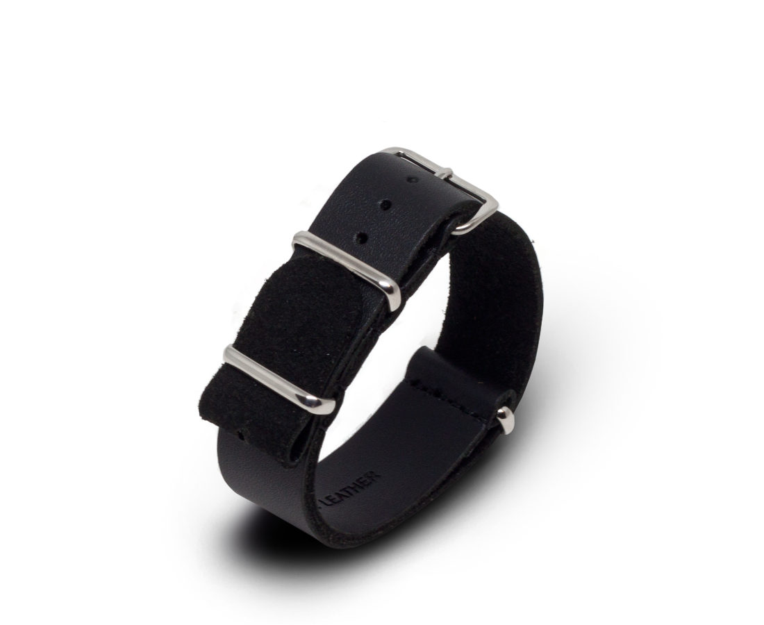 Leather Nato Watch Strap in Black with Silver Hardware