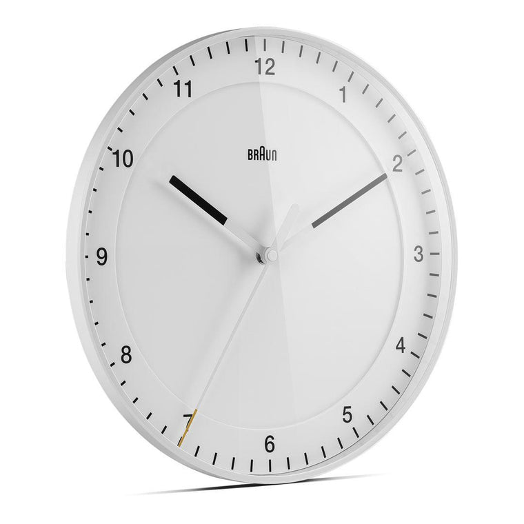 Braun 30cm Silent Sweep Wall Clock in White BC17W