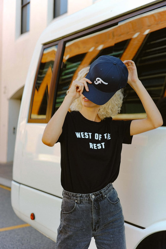 Freo Goods Co 'F' Puff Flexfit® Cap in Navy. Compendium Design Store, Fremantle. AfterPay, ZipPay accepted.