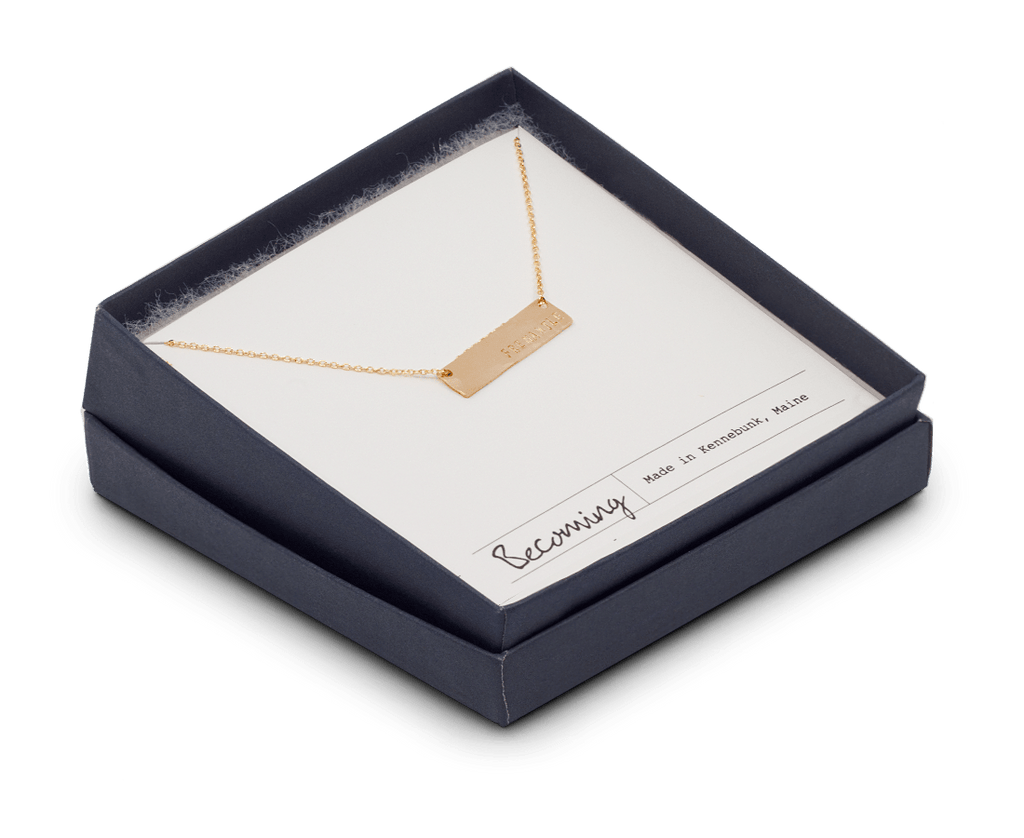Fremantle Small Bar Necklace in Gold. Compendium Design Store, Fremantle. AfterPay, ZipPay accepted.