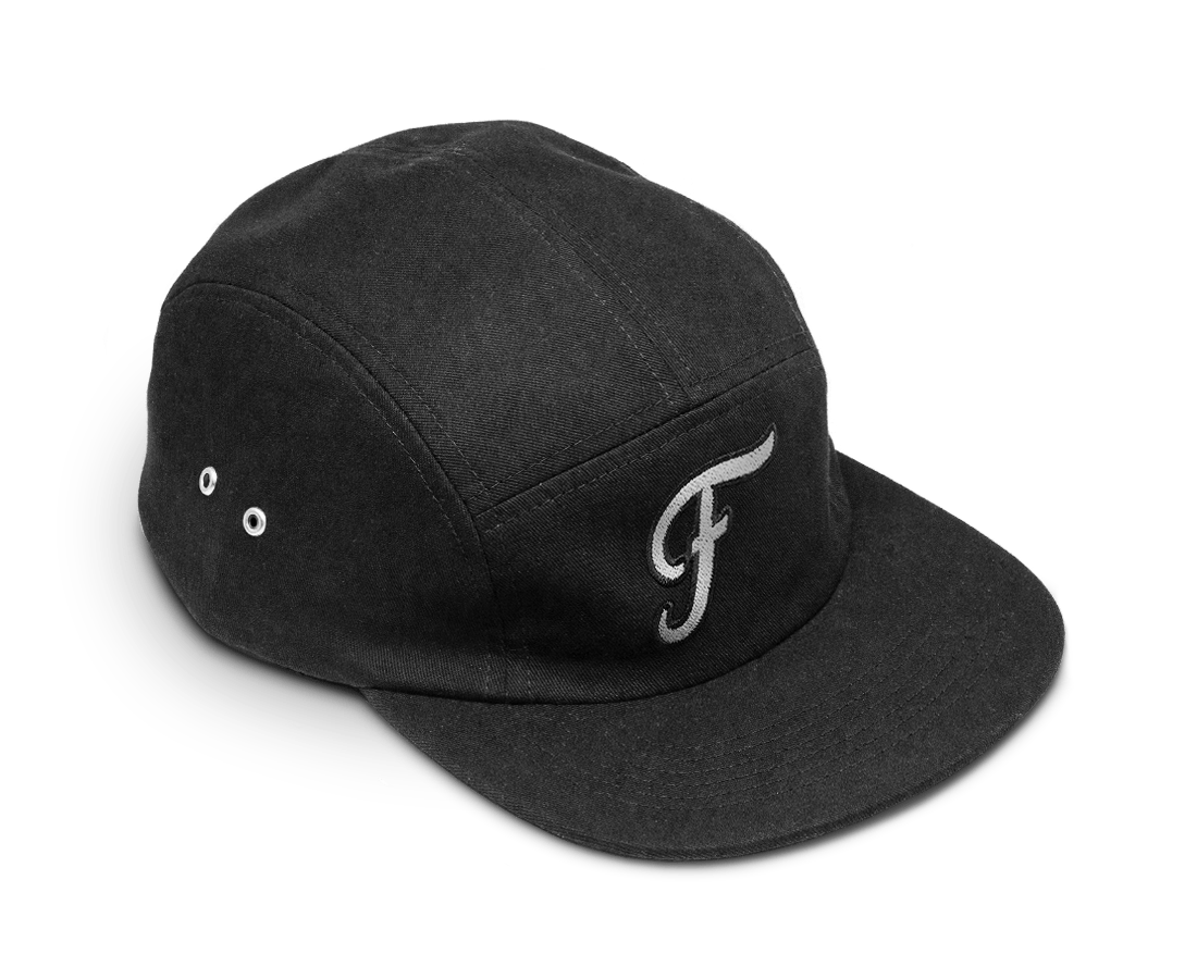 Freo Five Panel Camp Cap in Black. Compendium Design Store, Fremantle. AfterPay, ZipPay accepted.