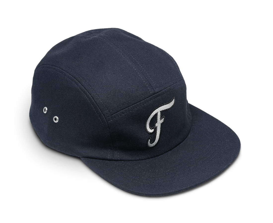 Freo Five Panel Camp Cap in Midnight. Compendium Design Store, Fremantle. AfterPay, ZipPay accepted.
