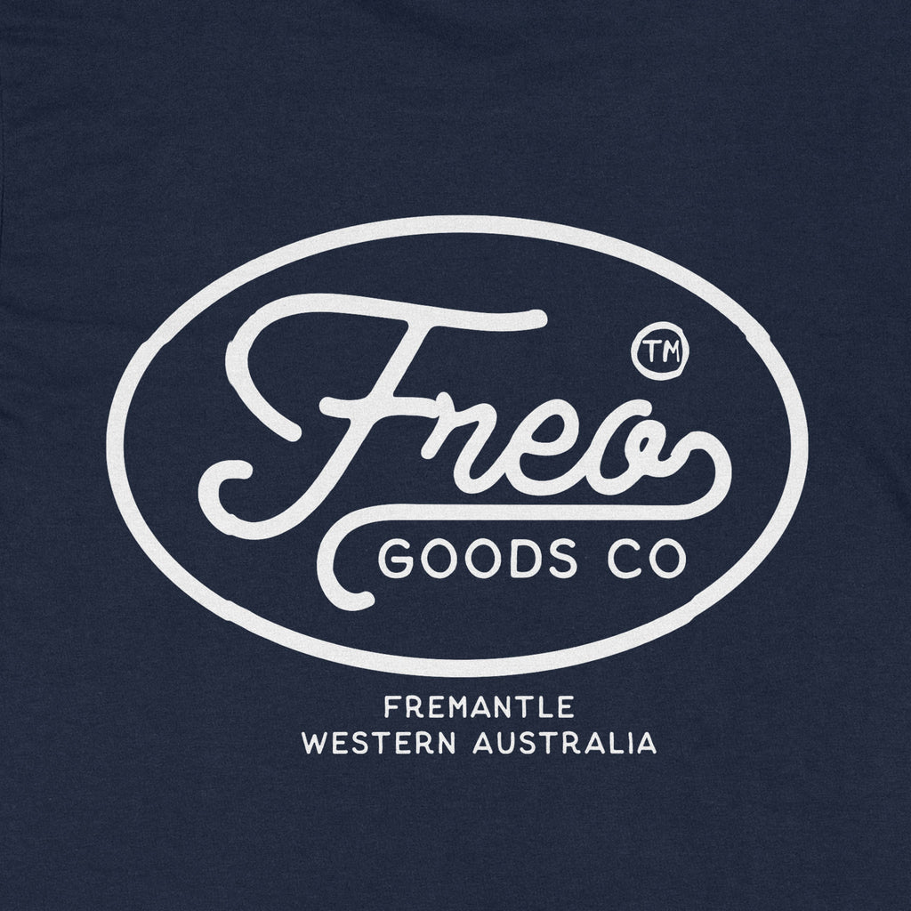 Freo Goods Co Organic Cotton Tee #1 in Navy. Compendium Design Store, Fremantle. AfterPay, ZipPay accepted.