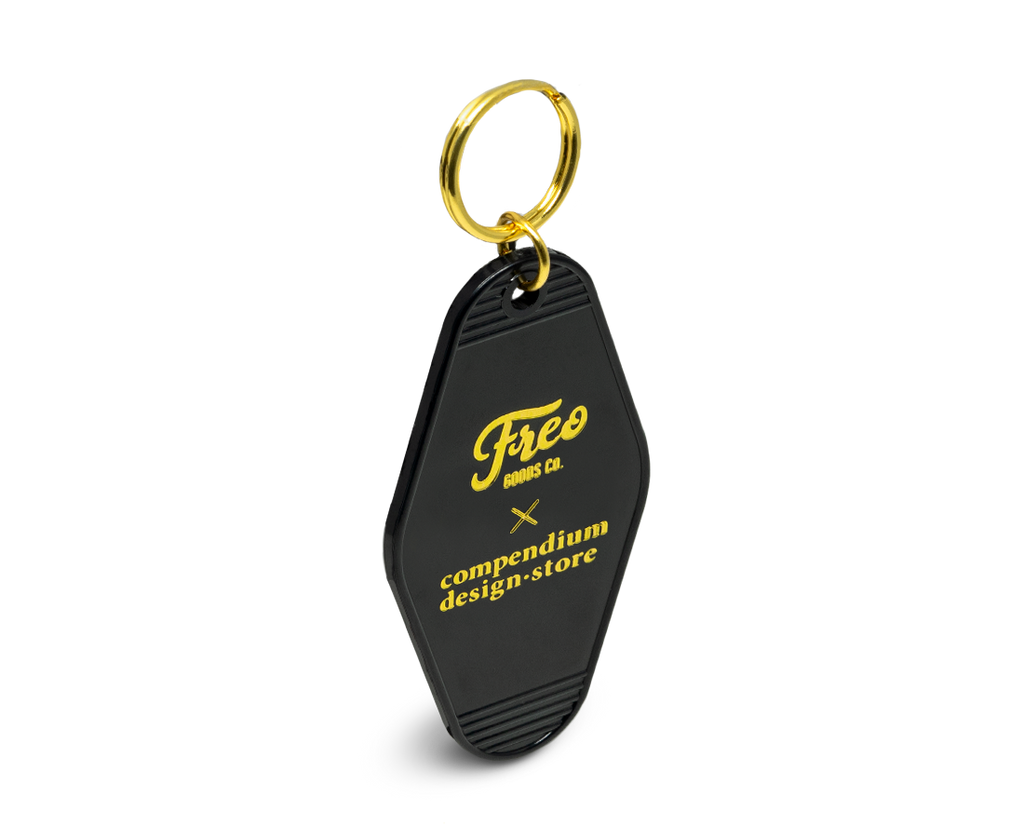Freo Goods Co x C·D·S Key Fob in Black & Gold. Compendium Design Store, Fremantle. AfterPay, ZipPay accepted.