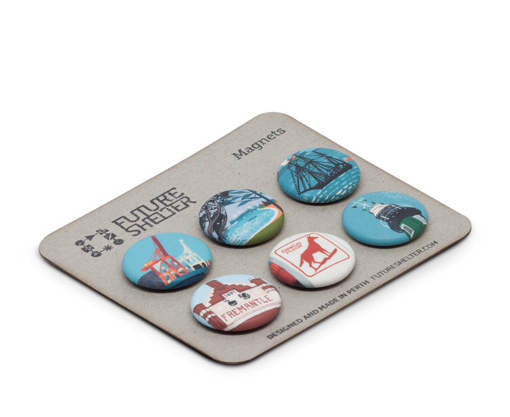 Fremantle Magnets by FutureShelter. Future Shelter Perth. Compendium Design Store. AfterPay, ZipPay accepted.