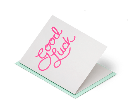Good Luck - Neon Pink on Grey. Jot Paper Company. Compendium Design Store. AfterPay, ZipPay accepted.