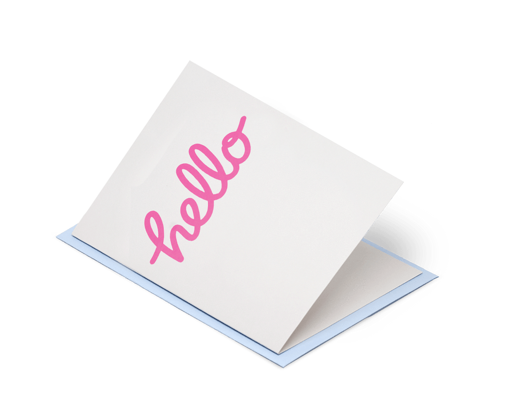 Hello - Neon Pink on Grey. Jot Paper Company. Compendium Design Store. AfterPay, ZipPay accepted.