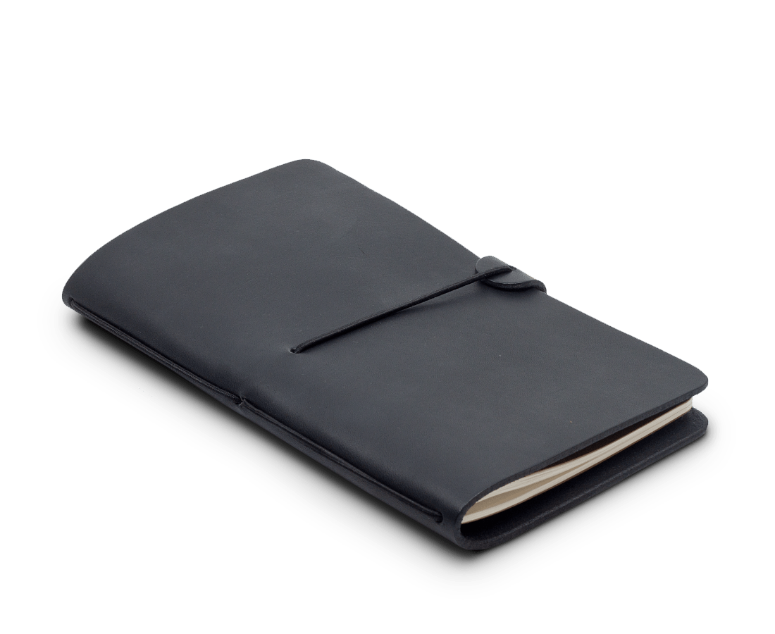 Isaac Francis Leather Notebook Cover in Black. Isaac Francis. Compendium Design Store. AfterPay, ZipPay accepted.