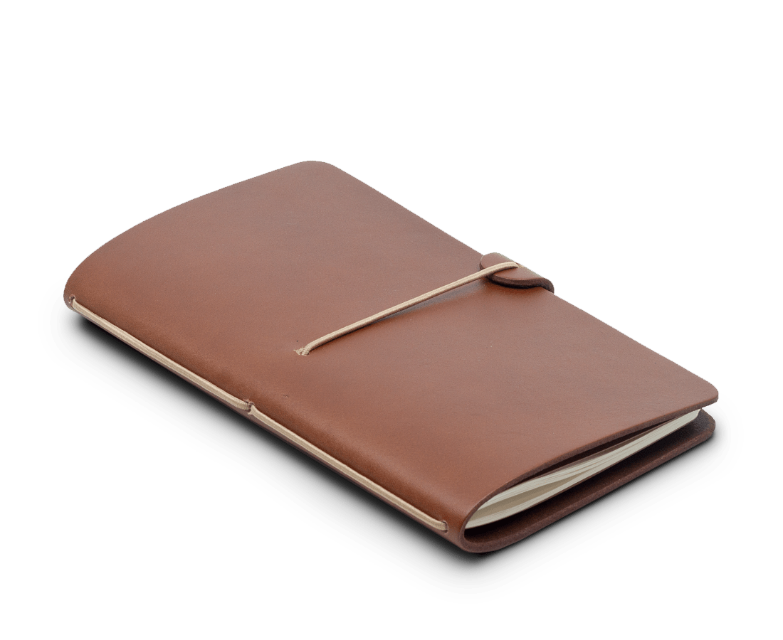 Isaac Francis Leather Notebook Cover in Tan. Compendium Design Store, Fremantle. AfterPay, ZipPay accepted.