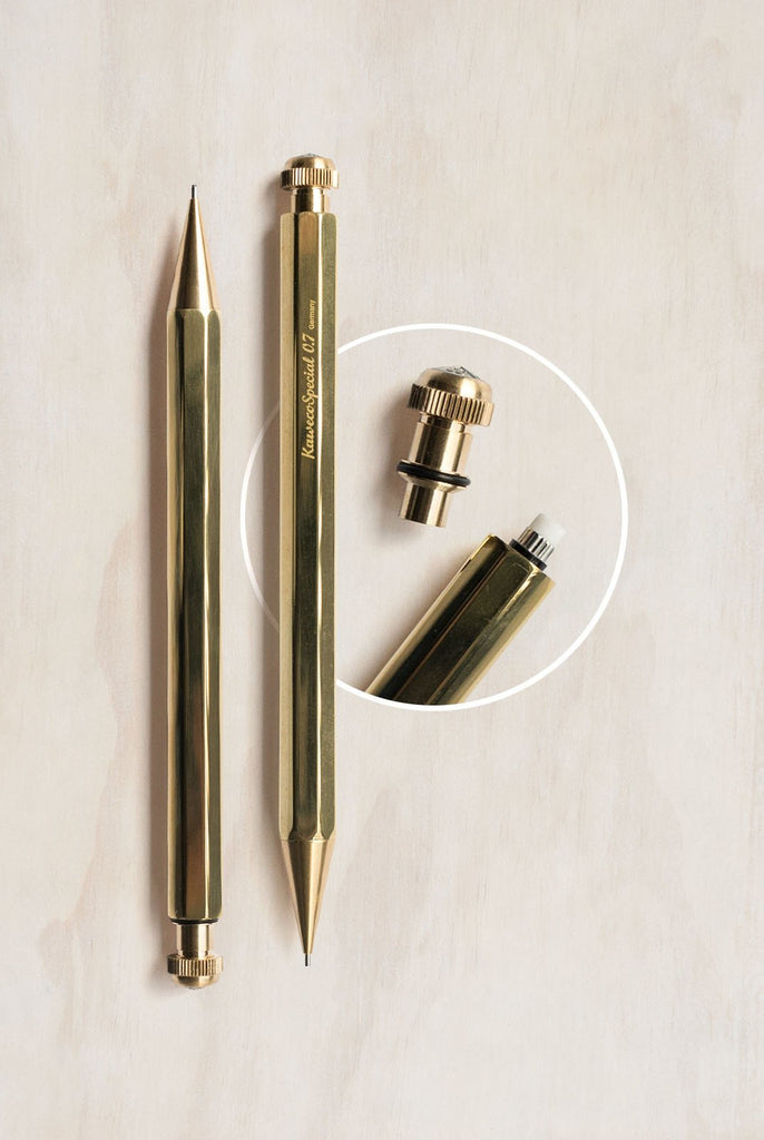 Kaweco Special Mechanical Pencil 0.7mm in Brass. Compendium Design Store, Fremantle. AfterPay, ZipPay accepted.