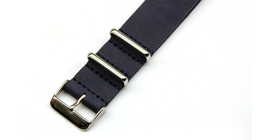 Leather Nato Watch Strap in Blue with Silver Hardware. Compendium Design Store, Fremantle. AfterPay, ZipPay accepted.