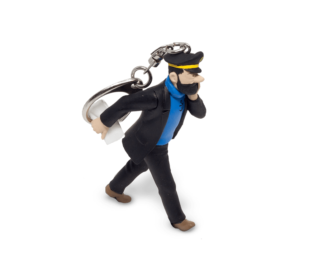 Captain Haddock walking with his newspaper keyring 10cm. Moulinsart. Compendium Design Store. AfterPay, ZipPay accepted.