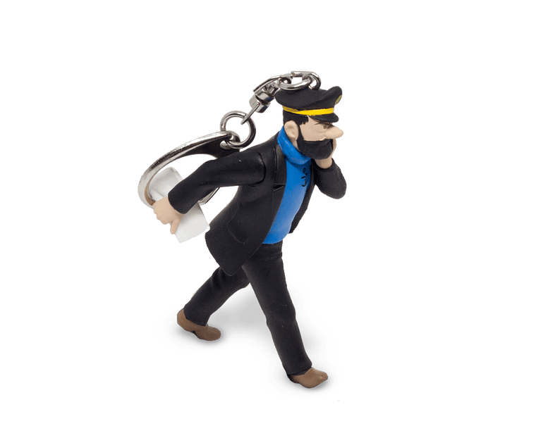 Captain Haddock Walking With His Newspaper Keyring 10cm