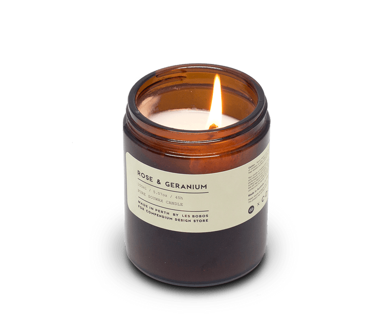 Rose Geranium candle by Les Bobos for C·D·S. Les Bobos, Perth. Compendium Design Store. AfterPay, ZipPay accepted.