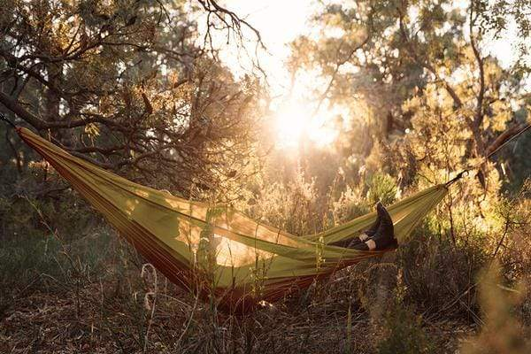 Ghost Outdoors Carry-On Hammock Gold. Compendium Design Store, Fremantle. AfterPay, ZipPay accepted.