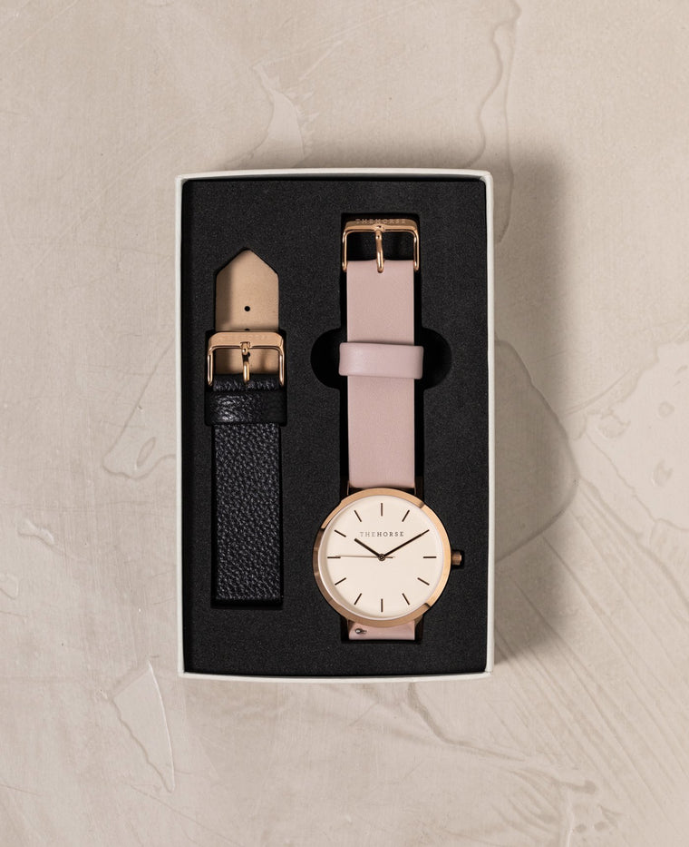 A14i The Horse Original Watch Gift Set Polished Rose Gold Case, White Dial, Blush Strap and Black Strap