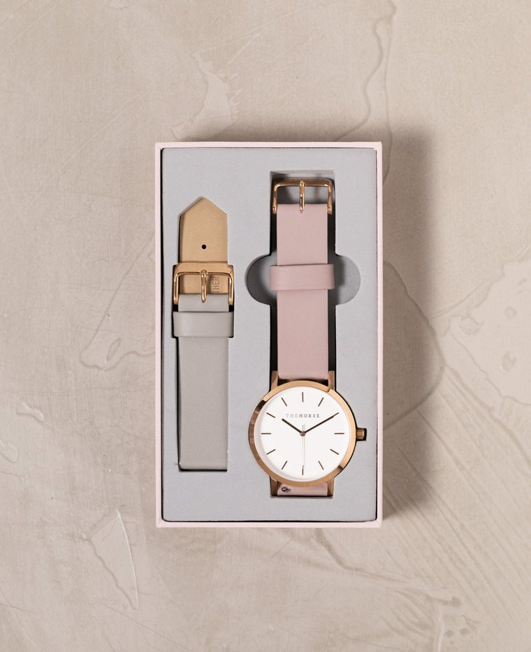 A26i The Horse Original Watch Gift Set Polished Rose Gold Case, white Dial, Blush Strap and Grey Strap