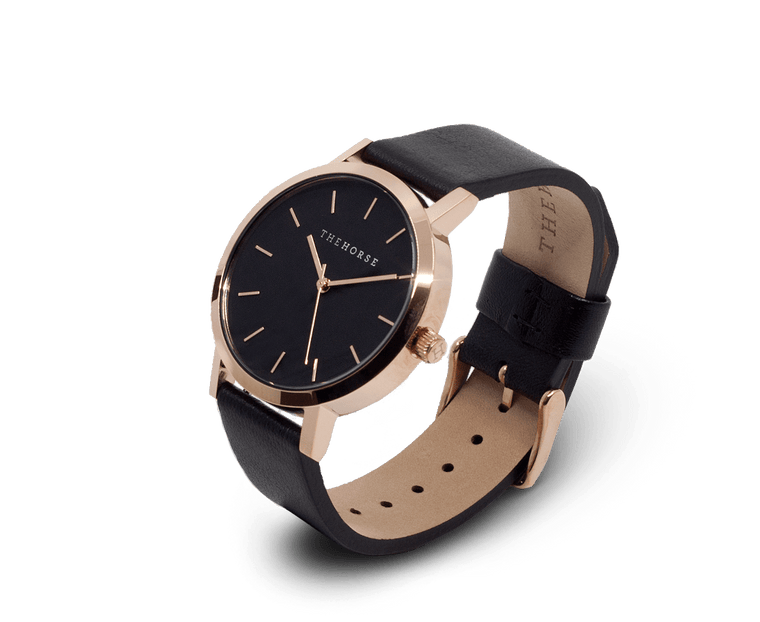 MA11 The Horse Mini Original Watch with Rose Gold Case, Black Dial & Black Strap