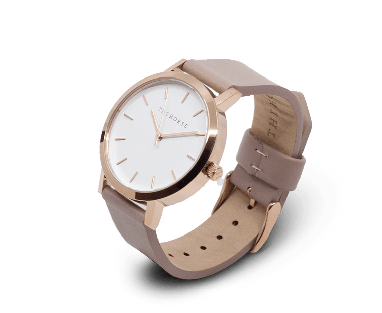 MA14 The Horse Mini Original Watch with Rose Gold Case, White Dial & Blush Strap