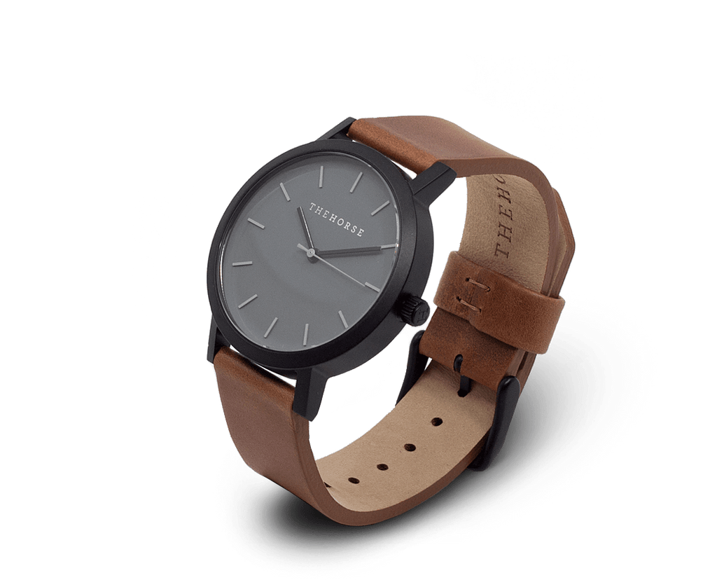 MA4 The Horse Mini Original Watch with Matte Black Case, Grey Dial & Tan Band