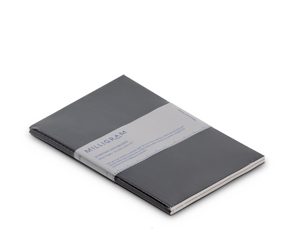 Basic A5 Notebook Set of 2 - Black. Compendium Design Store, Fremantle. AfterPay, ZipPay accepted.