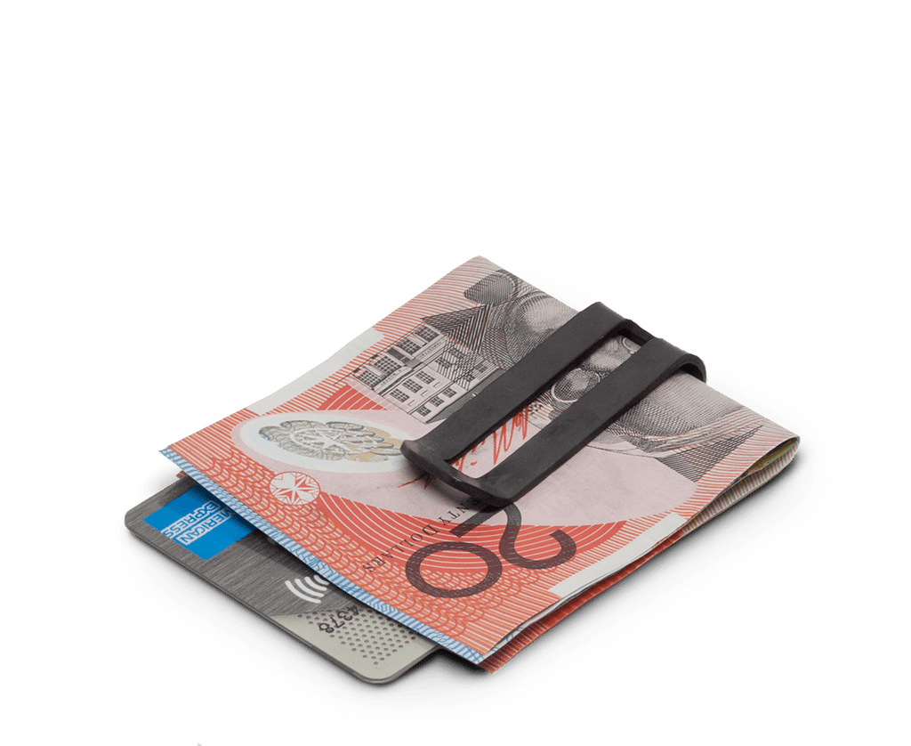 Money clip in Matte Black Oxide. Maxx & Unicorn. Compendium Design Store. AfterPay, ZipPay accepted.