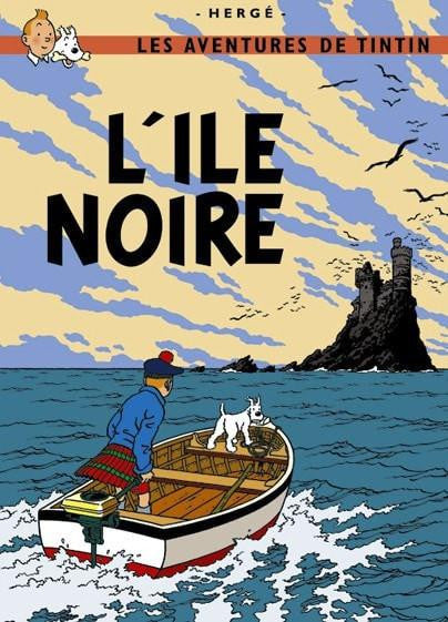 The Adventures of Tintin: L'lle Noire Poster in French. 50x70cm